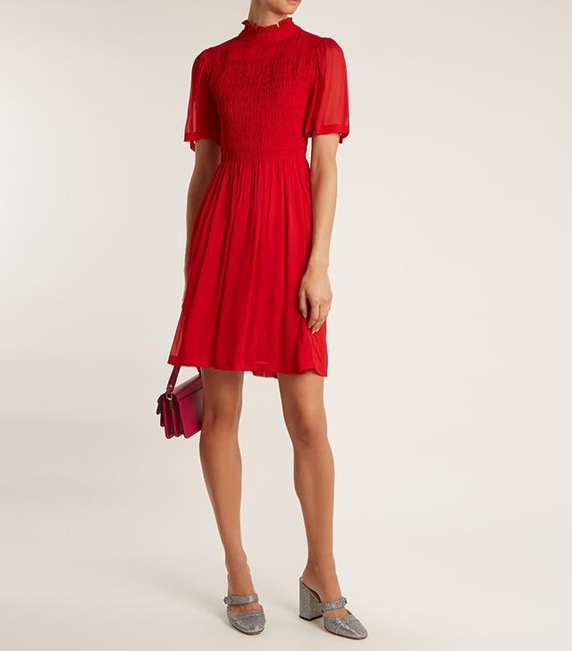 Short-sleeved smocked georgette dress