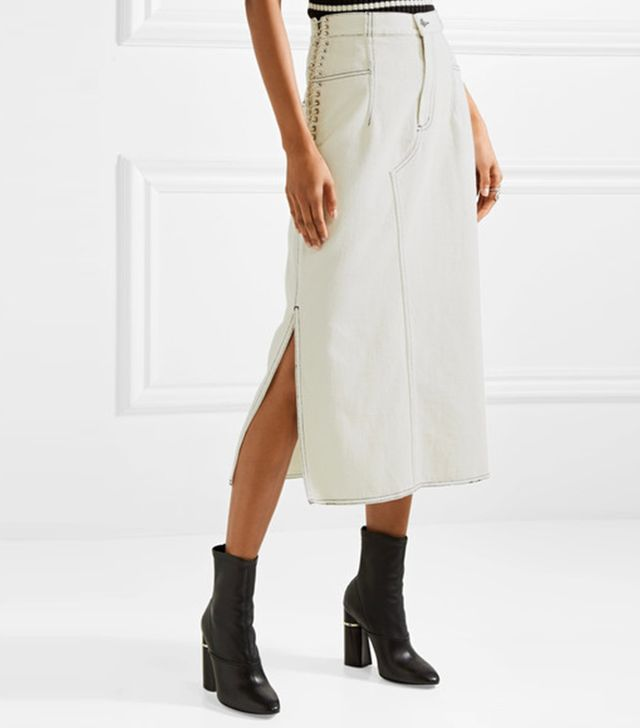 Lace-up Denim Midi Skirt
