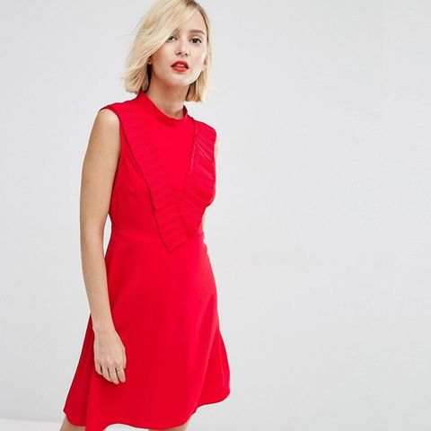 A-Line Dress With Pleated Yolk Front