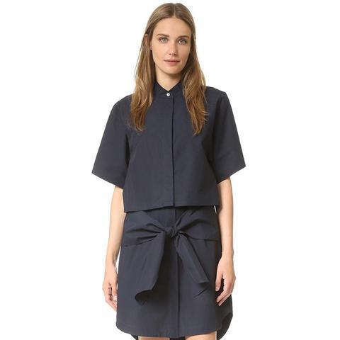 Button Down Tie Shirtdress