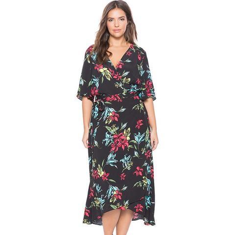 Circle Sleeve Wrap Dress