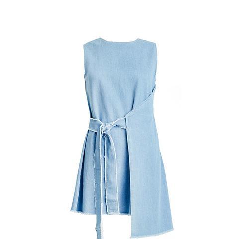 Frayed Denim Wrap Dress