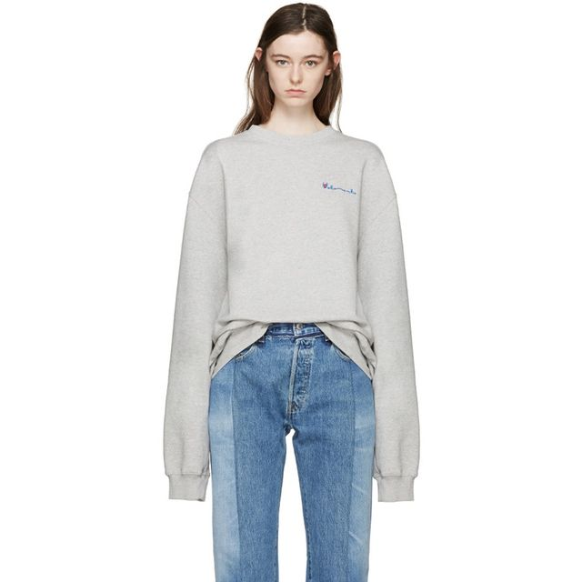 Vetements Grey Oversized Logo Pullover