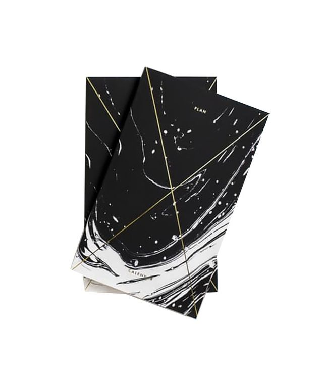 Julia Kostreva Gold Foil Any-Year Daily Planner in Marble Black