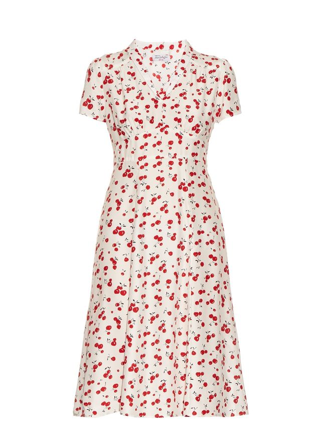HVN Morgan Cherry-Print Short-Sleeved Dress