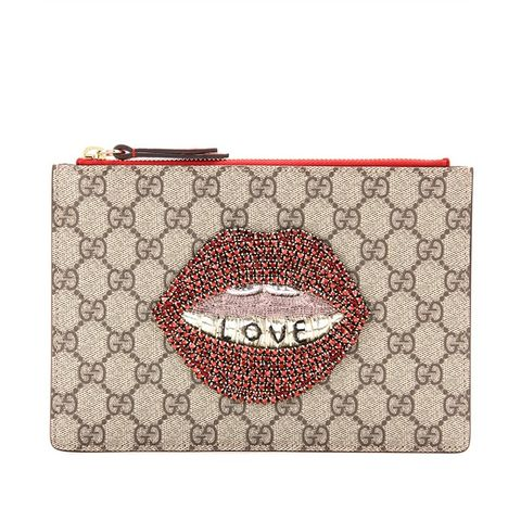 GG Supreme Embellished Coated Canvas Pouch