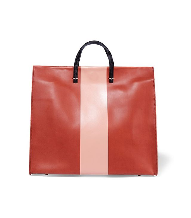 Clare V Simple Striped Leather Tote