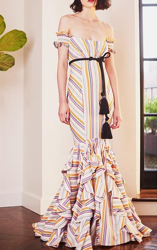 Caroline Constas Thea Off the Shoulder Stripe Gown