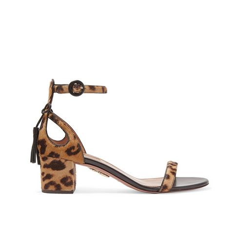 Pixie Leopard-Print Calf Hair Sandals