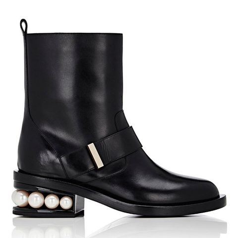 Pearl-Inset Moto Boots