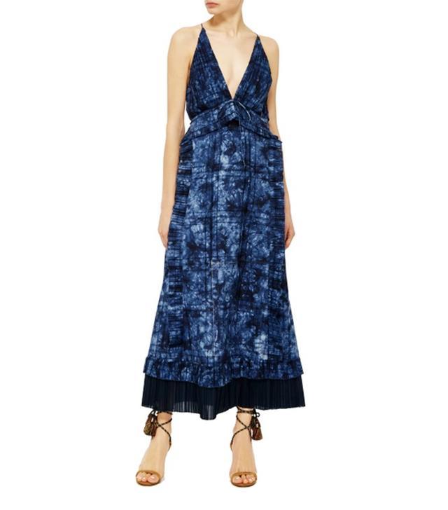 Thakoon Open Weave Cotton Ruffled Long Dress
