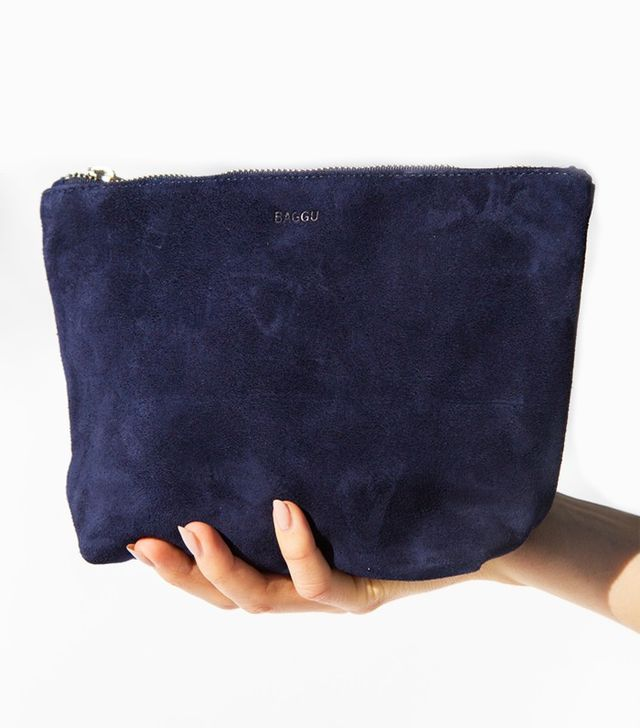 Baggu Medium Stash Clutch in Midnight Suede