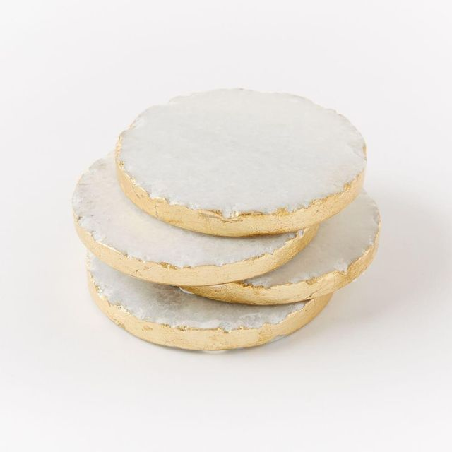 West Elm Round Stone Coasters - White/Gold (Set Of 4)