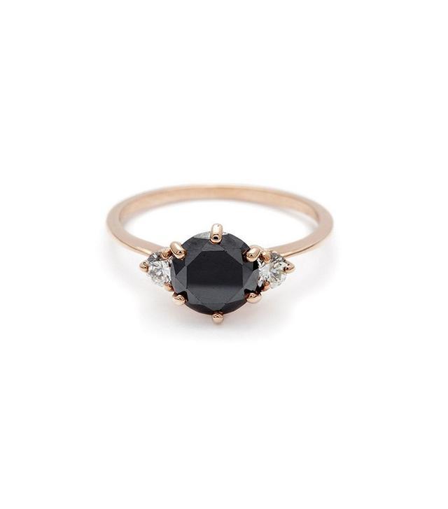 Anna Sheffield Hazeline Three Stone Ring in Black Diamond