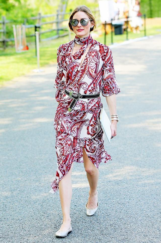 On Olivia Palermo:Chelsea28 + Olivia Palermo dress; PaigeKendall Studded Belt($160); French Soleballet flats.