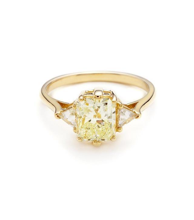 Anna Sheffield Bea Three Stone Ring in Yellow Diamond