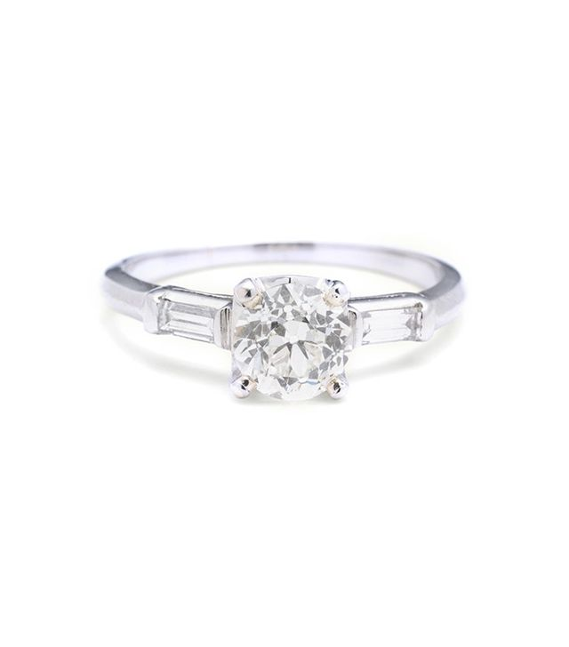 Erica Weiner 1.08ct Old European Cut Engagement Ring With Diamond Baguette Shoulders
