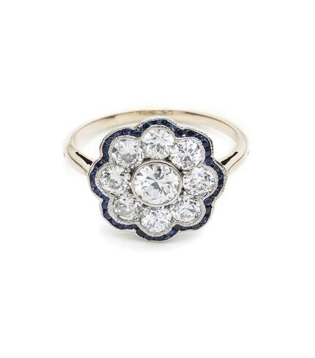 Erica Weiner French Deco Diamond Cluster Ring With Sapphire Border