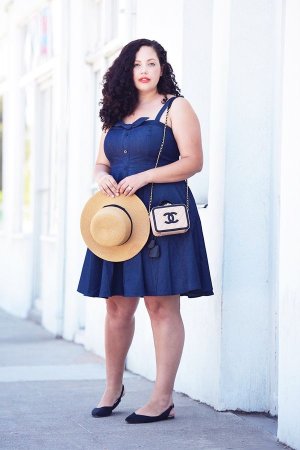 On Tanesha Awasthi: Forever 21 Straw Boater Hat ($15); City Chic Sweet Denim Fit-and-Flare Dress ($99); Tory Burch earrings; Chanel bag; Marc Fisher Silvia Slingback...