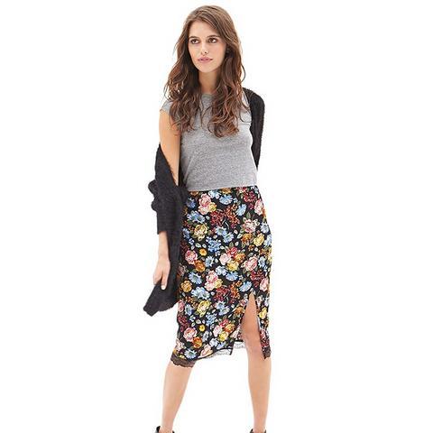 Lacy Floral Slip Skirt