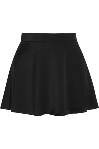 Ballet Beautiful Stretch-Satin Jersey Wrap Mini Skirt