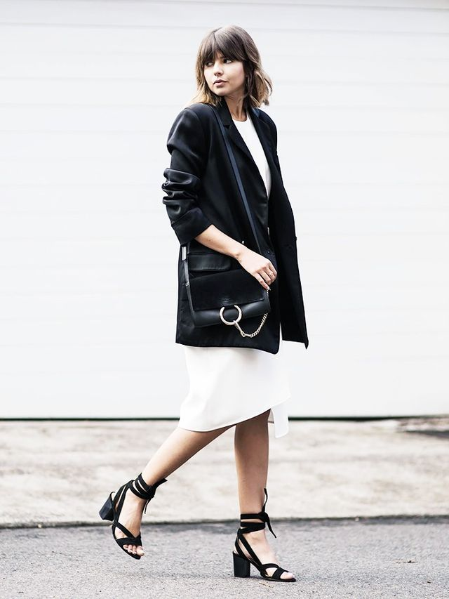 On Talisa Sutton: Zimmermann blazer; Tibi Anson Stretch Wrap Skirt($471); Adam Lippes Pleated Silk-Georgette and Crepe Top($401); Mode Collective Lace-Up Mid Heels($289);...