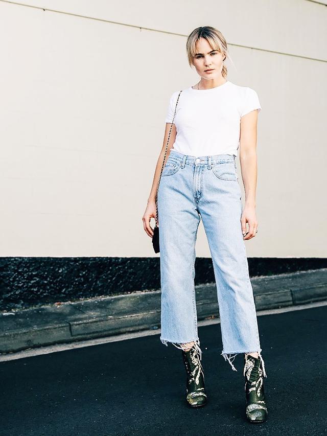 On Brooke Testoni: Vintage Levi's; vintage Chanel; Romance Was Born x Beau Coops boots.