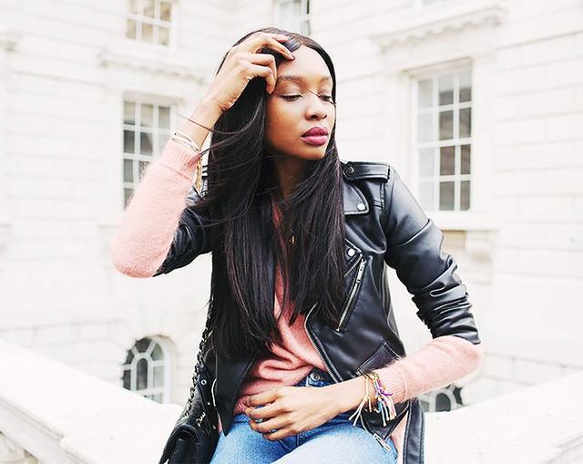On Natasha Ndlovu: Monica Vinader bracelets.