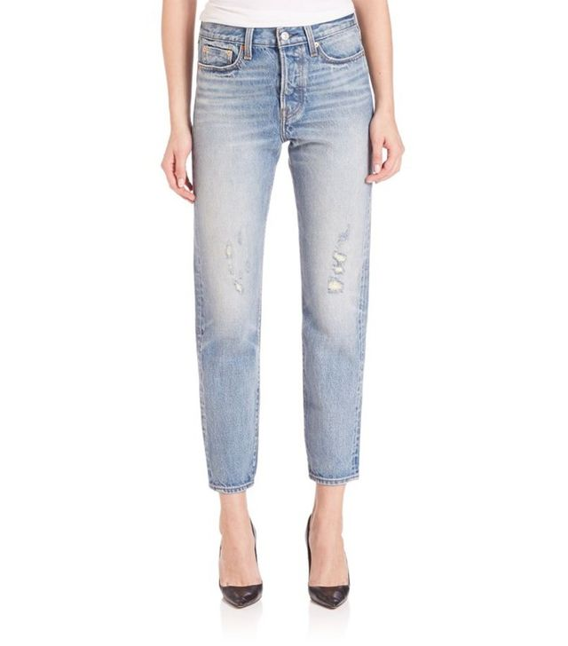 Levi's Wedgie High Rise Icon Cropped Body-Fit Selvedge Jeans