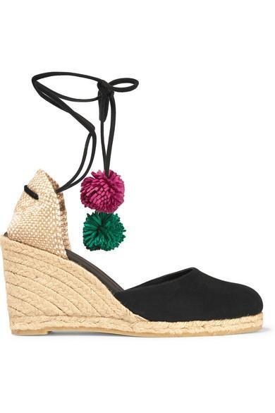 Castañer Carina Pompom-Embellished Suede With Wedge Espadrilles