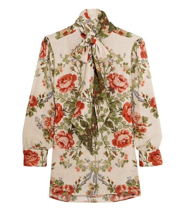 Gucci Pussy-Bow Floral-Print Silk Blouse
