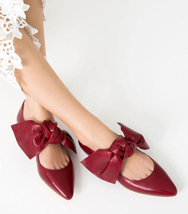 Zara Plat Leather Shoes With Bow