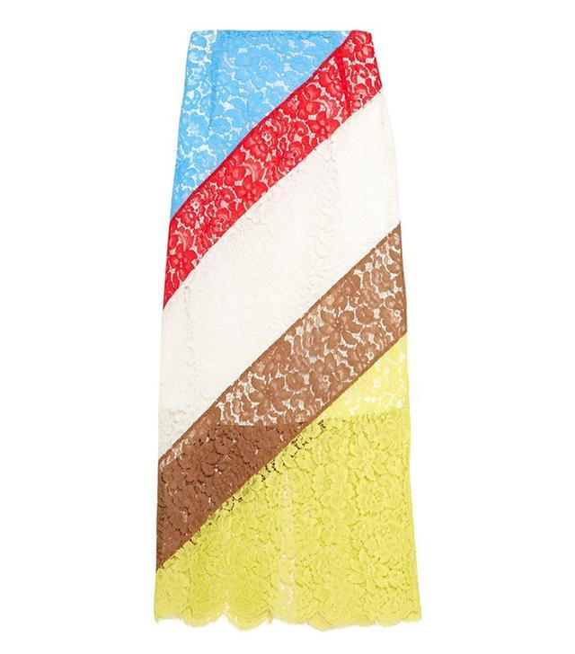 Preen by Thomas Bregazzi Willow Striped Lace Midi Skirt