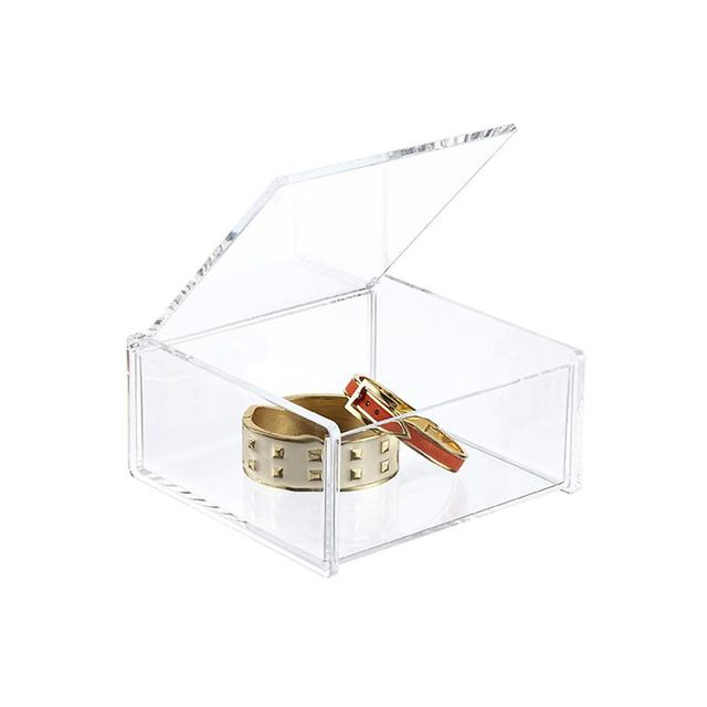 The Container Store Acrylic Square Hinged-Lid Box