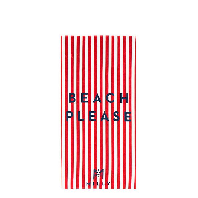 Beach Please Striped Beach Towel in Red.