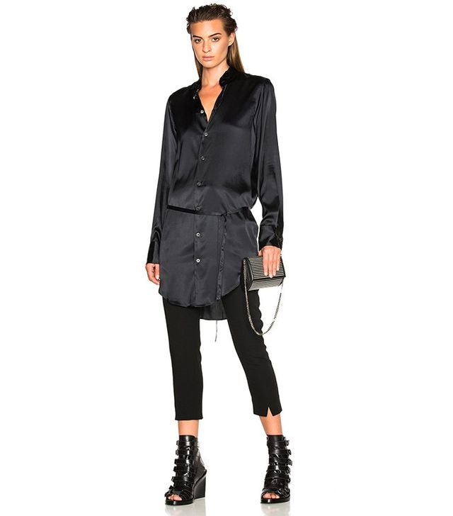Ann Demeulemeester Belted Satin Tunic