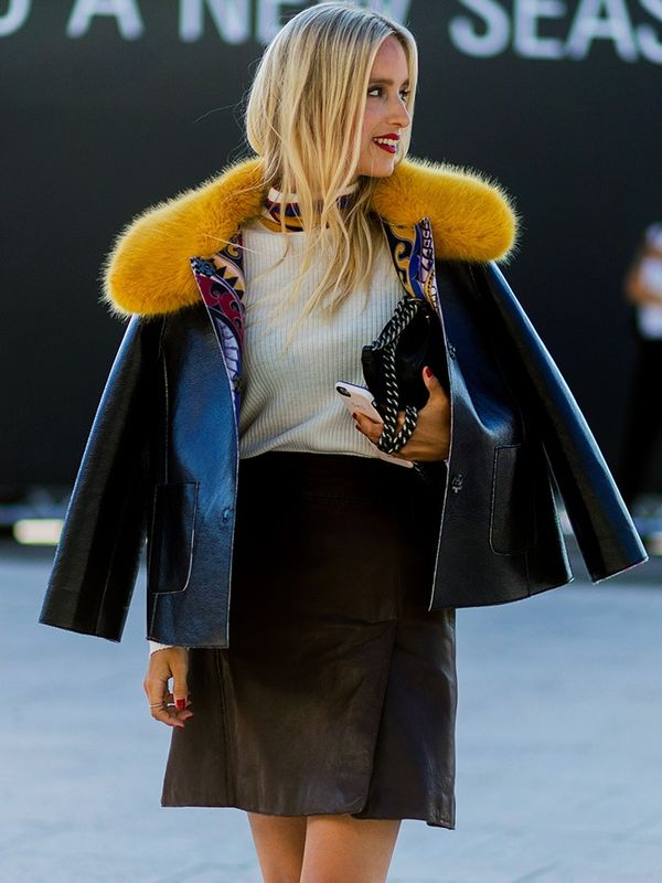 Style Notes: Charlotte Groeneveld, in a full Marc Cain look, plays up the fun fur and lining of her statement jacket by wearing super-simple separates underneath.