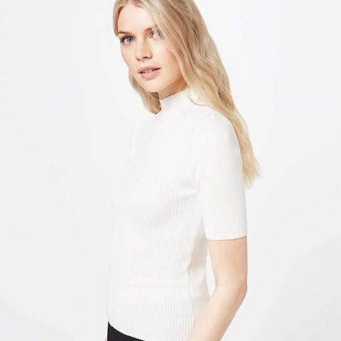 Cream Short Sleeve Rib Top