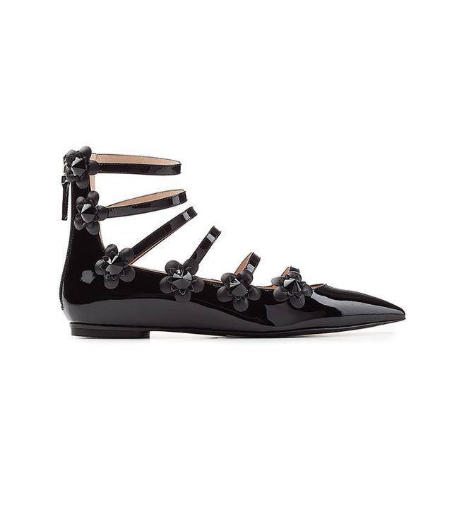 Fendi Embellished Patent Leather Ballerinas