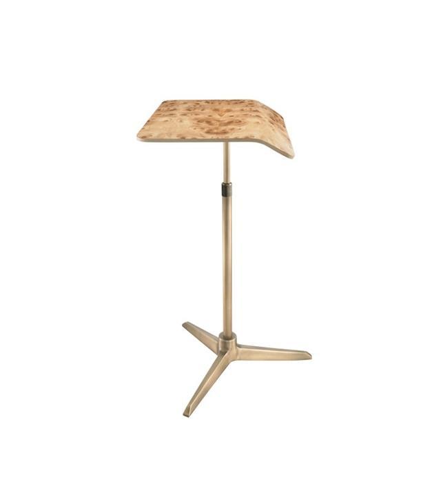 Plunk Desk Carpathian Elm Burl & Nickel Adjustable Desk