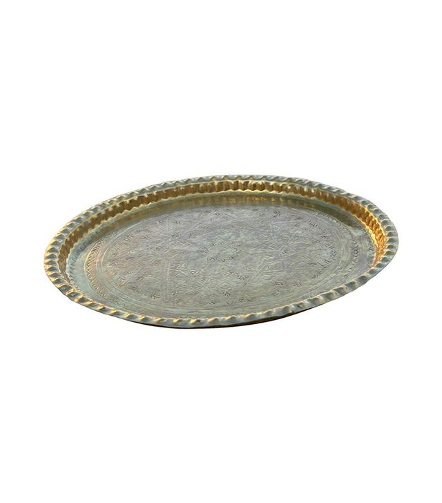 The Moroccan Room Vintage Handmade Moroccan Brass Tray