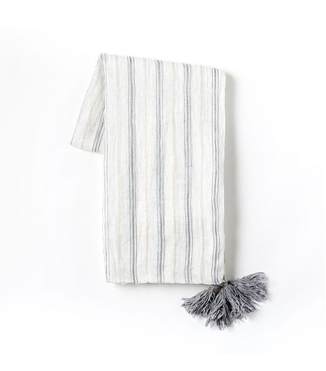 West Elm Stripe Linen Throw