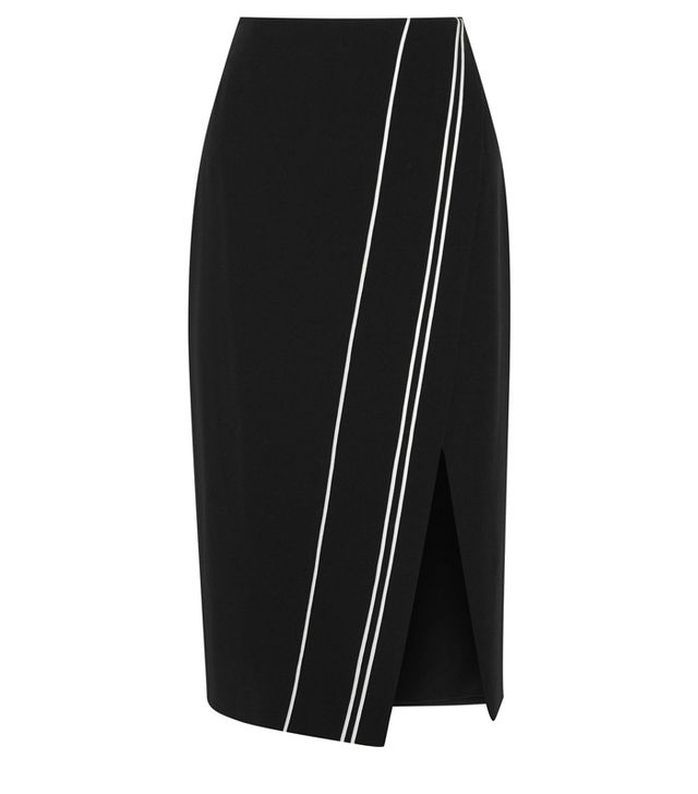 La Ligne Wrap-Effect Satin-Trimmed Cady Skirt