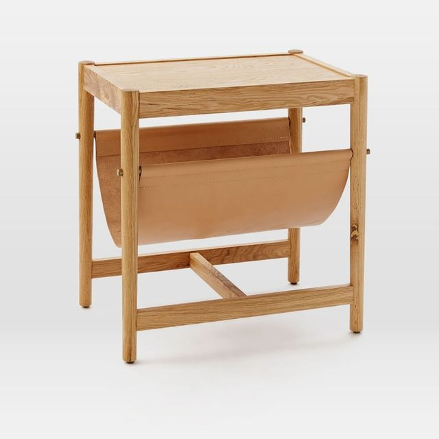 West Elm Leather Sling Side Table - Natural Oak
