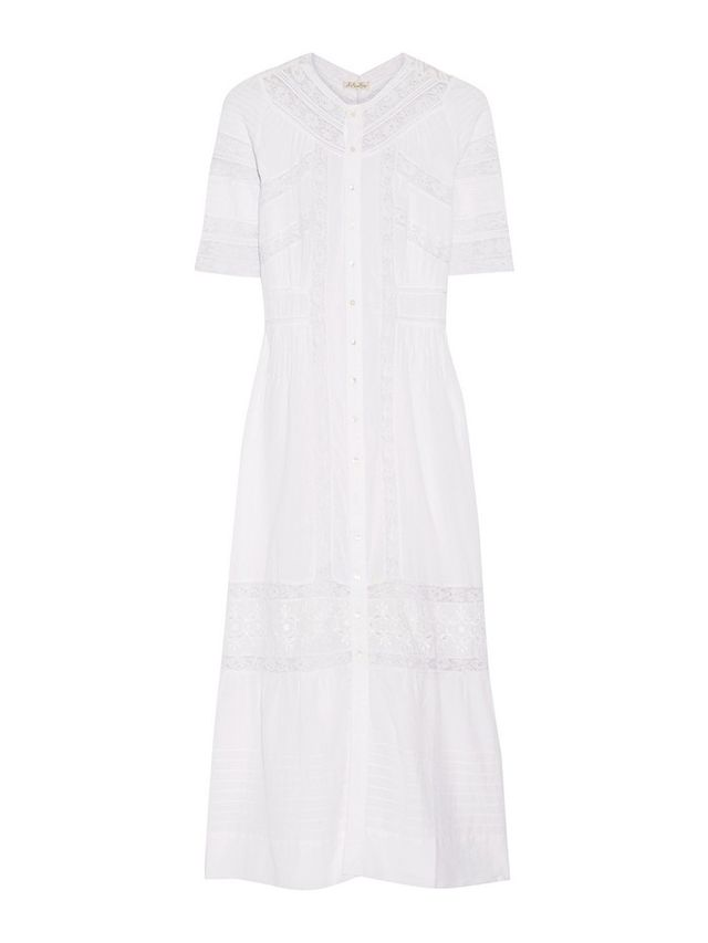 Loveshackfancy Paneled Lace and Cotton-Poplin Dress
