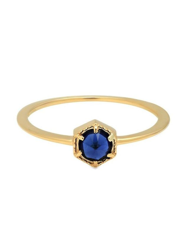 Luv AJ Full Bloom Ring with 14K Yellow Gold and Blue Sapphire