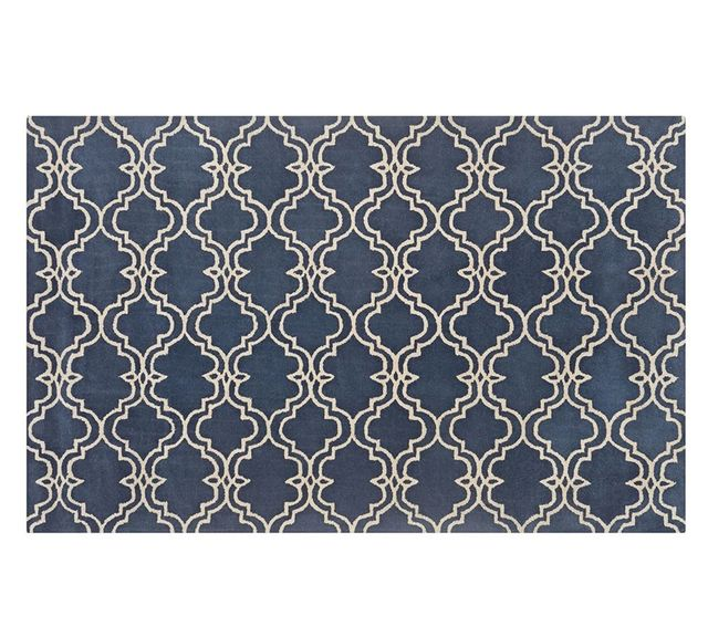 Pottery Barn Scroll Tile Rug - Indigo Blue