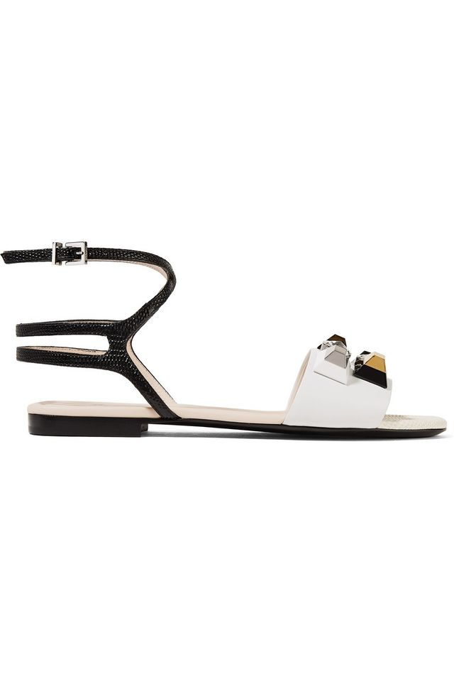 Fendi Embellished Matte and Lizard-Effect Sandals