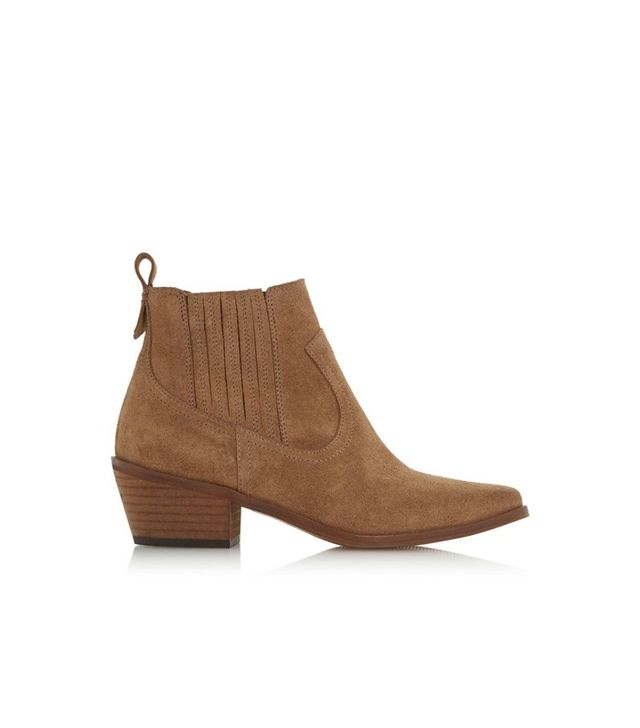 Dune London Western Block Heel Ankle Boot