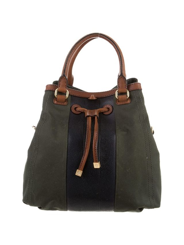 Black Fleece Leather-Accented Bucket Bag